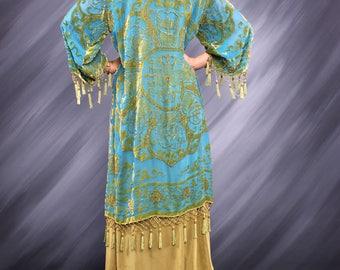Aqua Green Medallion Beaded Kimono Gypsy Duster