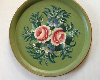 Vintage 18 inch Tole Hand Painted Floral Serving Tray Shabby Chic, 1960's