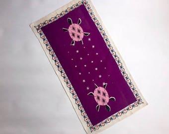 Adorable Purple Linen Dishtowel with Pink Turtles