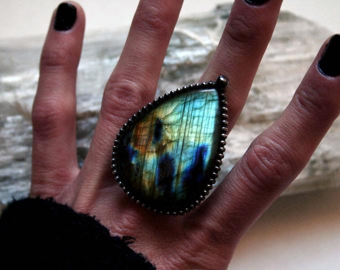 Large Rainbow Labradorite Ring