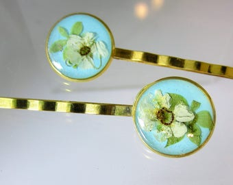 Bridal Veil Blossoms on light Teal, Pair of Real Flower Hair Pins,  Resin, Pressed Flower Jewelry, Gold Plated Brass (2043)