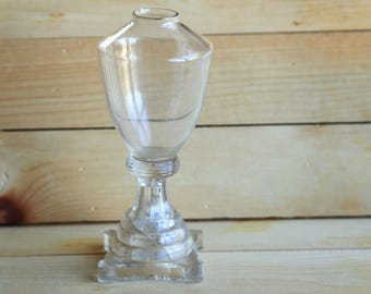 Antique Whale Oil Lamp Clear Glass ~ Early American Pressed Glass ~ Boston & Sandwich ~ Colonial / Antique / Vintage Lighting