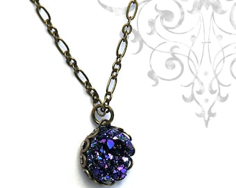 Faux Druzy Necklace, Resin Drusy Necklace in Black Purple and Blue Glitter