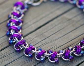Purple and silver beaded chain maille bracelet; purple chainmaille jewelry; Rapid Track beaded chainmaille bracelet