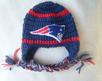 Crocheted Patriots Inspired or (Choose your team)  Football Helmet Baby Beanie/hat - Made to Order - Handmade by Me