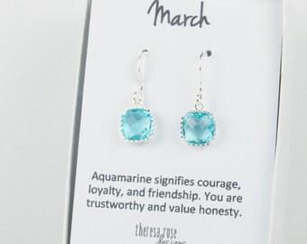 March Birthstone Aquamarine Silver Earrings, Aquamarine Silver Square Earrings, March Birthstone Silver Earrings, Bridesmaid Earrings