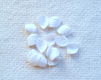 Vintage German Acrylic White Leaf Beads - 2-Holes - 22 x 16 mm - Sets of 15                                            05/18