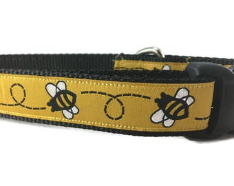 Dog Collar, Bumblebee, 1 inch wide, adjustable, quick release, metal buckle, chain, martingale, hybrid, nylon