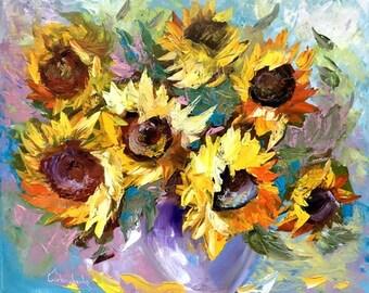 Sunflower Aceo Art Print Flower Art Print Botanical Art Print