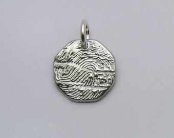 Fingerprint Jewelry, Silver Octagon Fingerprint Charm, Mommy Charm, Daddy Pendant, Fingerprint for Men, Masculine Fingerprint Pendant, Stop