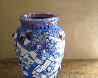 Broken China Mosaic Vase, Blue Mosaic, Eco Friendly, Upcycled Recycled Home Decor, Repurposed Blue Vase, Mosaic Art, Eco Friendly