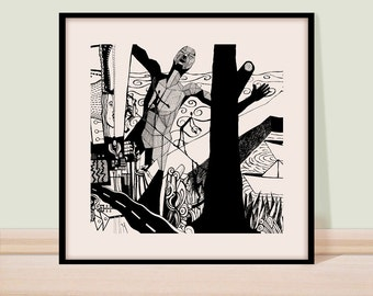 Modern wall art print, Black and white, Giclee print, Fine art drawing, Art drawing, Pen and  ink drawing, figure drawing, line art.