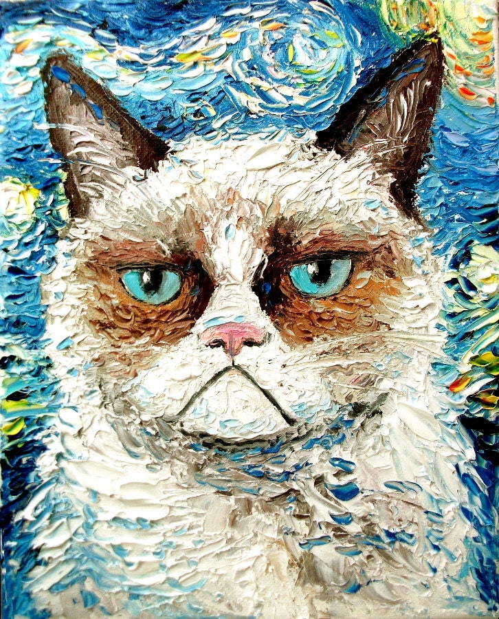 Vincent van NO - Cat meets Starry Night print of original oil painting 16x20 inches