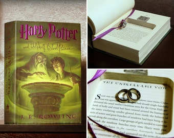 "Hollow Book Safe Ring Bearer - Harry Potter and the Half-Blood Prince ""Unbreakable Vow"" - Secret Book Safe"