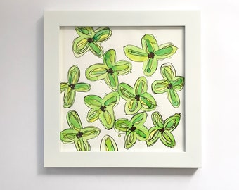 Green Flower Watercolor