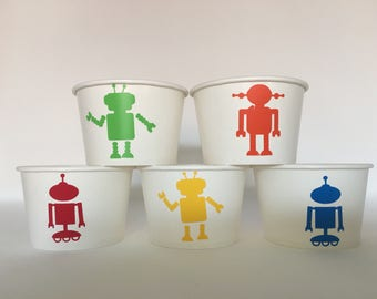 Robot Party cups, Robot Birthday Party Cups, Robot Party Favors