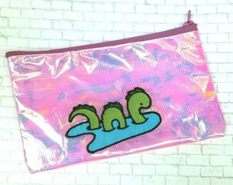Glimmering Nessie Pencil Pouch - Small Cosmetic Zipper Bag - Pencil Case - Purse Organizer - Makeup Bag - Small Toiletry Bags - Reusable