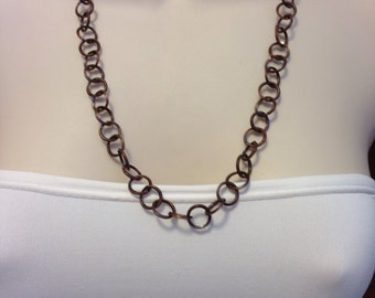 Antique Copper Handmade Chain Necklace Adjustable up to Twenty Five Inches Long 14mm wide, One of a Kind