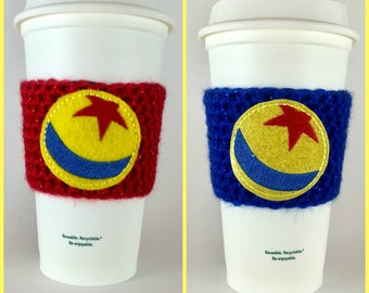 Toy Story Pixar Ball Coffee Cup Cozy / Crochet Coffee Sleeve / Reusable Cozie / Customizable