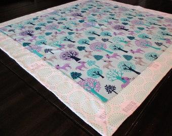 Deer Print Flannel Receiving Blanket