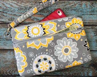 Wristlet; Gold & Gray Floral Medallion Wristlet Wallet; Phone Wallet; iPhone 7 Wristlet; Cell Phone Wristlet; Cell Phone Purse; Clutch