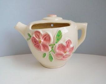 Vintage teapot wall pocket Diamond Pottery wall planter
