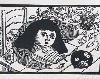 "Linoleum block print ""Artist's Block"""