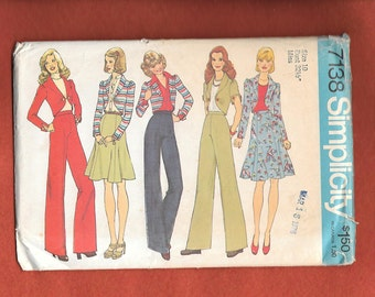 Vintage 1975 Simplicity  7138 Misses' Wide Legged Pants,  6 Gored Flared Skirt, And  Bolero Jacket With Long Or Short Sleeves, Size 10 UNCUT