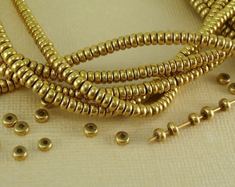 40 Brass Spacer Disk 3mm Heishi Disc Saucer Beads from India Flat Metal Beads Natural Heishe