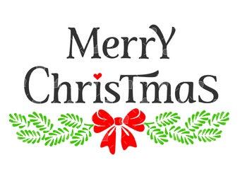 Merry Christmas Bough Word Art SVG