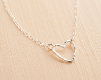 Silver Heart Necklace - Open Heart Necklace - Sterling Silver Heart Pendant - Heart Chain Necklace - Wire Heart Necklace