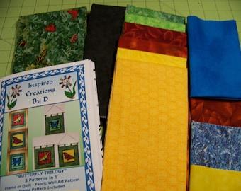 Kit de motif papillon trilogie Art Quilt