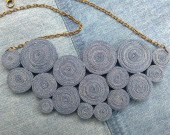 Denim necklace/ eco necklace