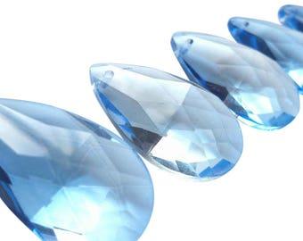5 Light Blue Teardrop 50mm Chandelier Crystals