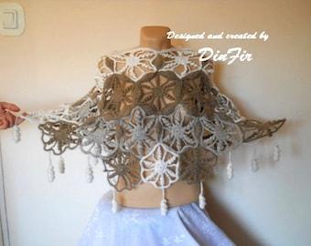 LIQUIDATION Stock SALE 30% OFF / Romantic Poncho Capelet Wedding Bridal Accessories Crochet Feminine Hand Knitted Shrug Bolero Elegant Women