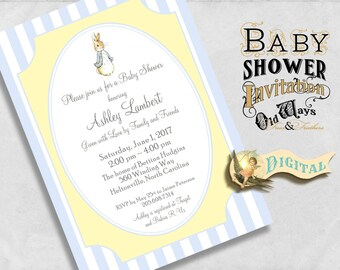 Peter Rabbit Baby Boy Shower Invitation - Classic, Traditional Vintage Printable Baby Shower Invitation in Blue and Yellow