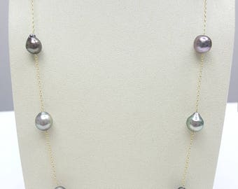 Tahitian Pearl Necklace Chain, 12mm, 34inchs long, Sliver chain with Rhodium plated