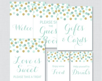 Bridal Shower Table Signs in Mint and Gold Glitter Dots - Printable Bridal Shower Decorations - Welcome Sign, Favors Sign, etc 0001-M