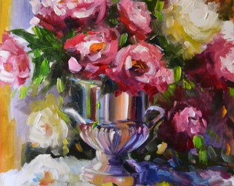 VASE REFLECTIONS~Art print of original oil painting by Cecilia Rosslee, roses in silver urn
