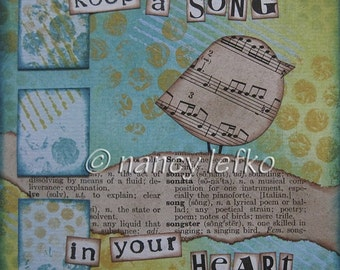 song in your heart - 5 x 5 ORIGINAL COLLAGE by Nancy Lefko