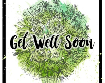 Get Well Soon green bouquet Greeting Illustration Art Card - blank inside