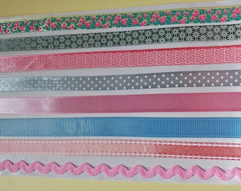 8 strips of Ribbon deco stickers self adhesive ribbon deco 8 x 50 cm or 4 meters decoration pink grey blue and floral flowers