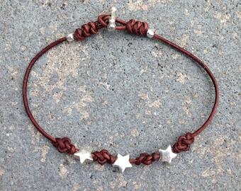 Bracelet Eternity 03 Five-Pointed Stars-Sterling Silver & Leather-Handmade (B203SS-L)