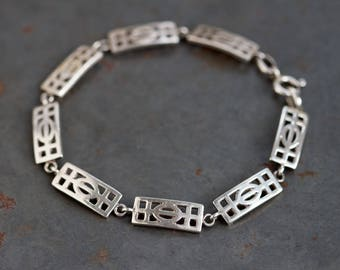 Sterling Silver Bracelet - Art Nouveau Links - Rennie Mackintosh Design - Elegant Vintage 80s Jewelry