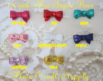 GOLD Mini Sequin Bows measure 1.4 inches perfect for crafts, headbands, clips