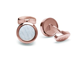Genuine Atlantic salmon leather cufflinks pearly white. Stainless steel surround, rose gold Ion-plated,  ECO-friendly fish skin
