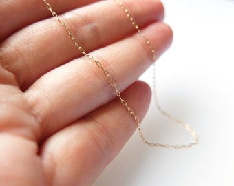 Tiny gold chain, Tiny gold necklace, Thin gold necklace, Gold filled chain,  Delicate necklace, Dainty gold chain necklace, Layering chain