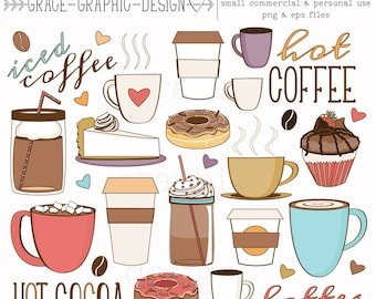 Coffee and Tea CLIPART, Donut and Latte clipart, Baking clipart, hand drawn digital illustrations, instant download eps COFFEE clipart set