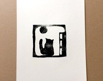 Art Print Digital printable file design from Lino Print - CAT animal pet -  from Linoleum Art Print - hello kitty cat