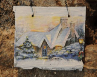 """slate """"Winter landscape - home in the snow"""""""